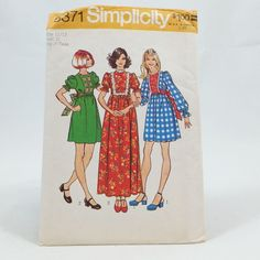Vintage Simplicity 5371 Junior Teen Dress Two Lengths Size 11/12 Sewing Pattern #Simplicity