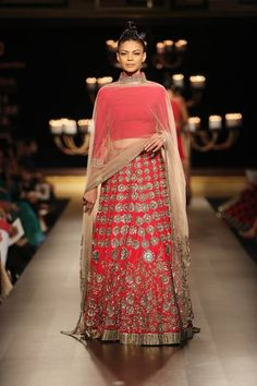 Manish Malhotra at India Couture Week 2014 - red mirror lehnga with gold dupatta