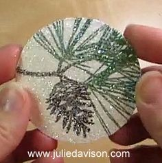 QuickTip for creating glittered images with Transfer Adhesive Sheets and Dazzling Diamonds Glitter -- featuring Stampin' Up! Ornamental Pine #christmas #stampinup www.juliedavison.com