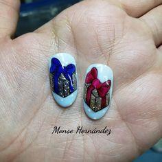 Bow Nail Art, Christmas Nails, Nailart, Bows, Turquoise, Beauty, Jewelry, Instagram, Xmas Nail Art