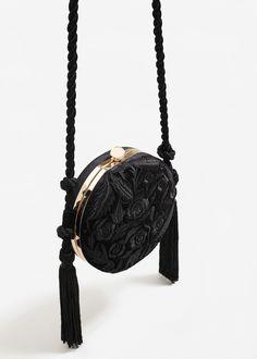 Tassel embroidered clutch - Woman   MANGO United Arab Emirates