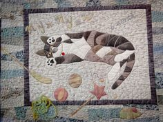 110122 Tokyo International Quilt Show 048 Dog Quilts, Animal Quilts, Baby Quilts, Cat Applique, Applique Quilts, Cat Fabric, Fabric Art, Quilting Projects, Quilting Designs