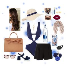 """""""Dip In The Pool"""" by isabel32297 ❤ liked on Polyvore featuring FELLA, Boutique Moschino, Sole Society, Mercedes-Benz, Accessorize, Prada, Le Specs, Mateo, Nine West and Mansur Gavriel"""