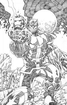 Thanos beats the Avengers by Pipin Tobing Drawing Superheroes, Marvel Drawings, Cartoon Drawings, Cool Drawings, Comic Book Tattoo, Comic Book Drawing, Comic Book Characters, Comic Books Art, Comic Art