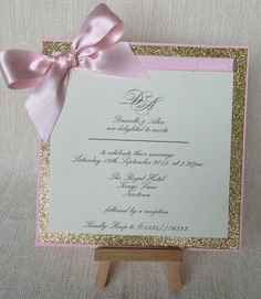 Flat card style wedding invitation, glitter gold and pale pink blush ribbon by I Heart It