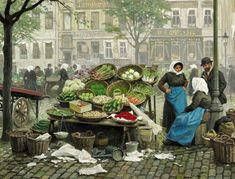 Paul Fischer: Farmers wives from Amager selling fresh vegetables at Højbro Plads, Copenhagen. Oil on canvas. 58 x 75 cm. - Bruun Rasmussen Auctioneers of Fine Art Vintage Artwork, Vintage Posters, Canvas Paper, Oil On Canvas, Classic Portraits, Fisher, Scandinavian Art, Old Paintings, Global Art