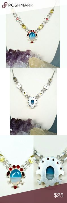 925 Botswana Agate Lemon Quartz Garnet Necklace This beautiful necklace is made with genuine Botswana Agate, Lemon Quartz, Garnet, and Padparadscha stones, set in 925 silver. This is a stunning necklace, even better in person!  Brand new! 925 Jewelry Necklaces