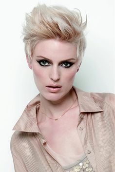 short blonde straight coloured white spikey Layered Womens haircut hairstyles for women