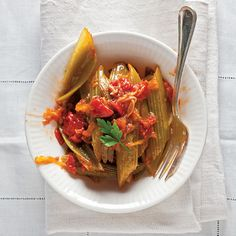 Thank you, Marcella Hazan, for this deeply satisfying dish of creamy, sweet braised celery accented with earthy tomatoes.