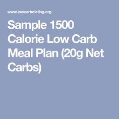 Sample 1500 Calorie Low Carb Meal Plan (20g Net Carbs)