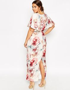 Image 2 ofASOS CURVE Flutter Sleeve Maxi Dress in Painterly Floral