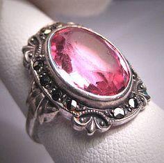 Antique Pink Sapphire Ring Vintage Marcasite Wedding