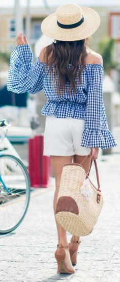 bell-sleeved off the shoulder top + perfect for summer + emphasising both your tan and your figure + Elizabeth Keene +statement pattered top + simple white shorts + heels.   Top: Sheinside, Shorts: Heavenly Couture, Hat: Lack of Color, Bag: Marshalls, Shoes: Charlotte Russe.