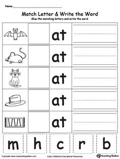 best at word family images  sight words literacy activities  free at word family match letter and write the word worksheet