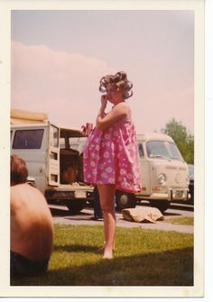 Mama in a baby-doll and curlers.