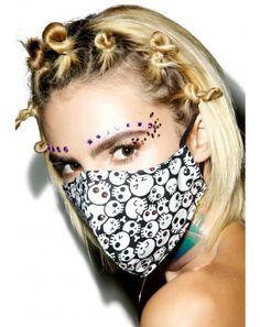 #DollsKill #lookbook #photoshoot #model #skull #candy #face #mask #dust #cover #skulls #pattern #black #white
