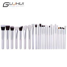 25 pcs Professional Makeup Brushes Set Make up Brush Tools kit Foundation Powder Blushes White And Black