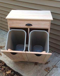 Modern Kitchen Trash Cans, Kitchen Garbage Can Storage, Trash Can Cabinet, Trash Bins, Wood Blocks, Woodworking Projects, Woodworking Books, Wood Projects, Diy Furniture