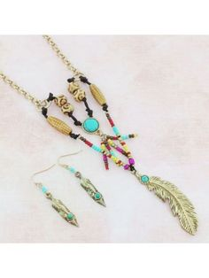 Southwestern Goldtone Feather Pendant Necklace and Earring Set
