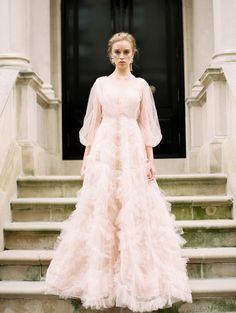 Parisian Inspired Couture Fashion with Marchesa in New York City Parisian Inspired Bridal in NYC with Marchesa Fashion on Style Me Pretty with Sophie Kaye Photography and Stylist East Made Event Company Marchesa Blush couture gown Country Wedding Dresses, Princess Wedding Dresses, Best Wedding Dresses, Boho Wedding Dress, Boho Dress, Wedding Gowns, Modest Wedding, Style Français, French Style