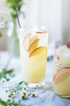 White nectarine prosecco sangria with ginger and elderflower