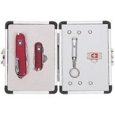3pc Swiss Army Style Multi Tool Pocket Knife w Aluminum Case LED Flashlight | eBay