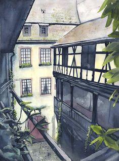 Original Watercolor Painting Musée Alsacien