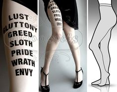 l/xl sexy 7 Deadly Sins tattoo full length tights / by tattoosocks, $25.00