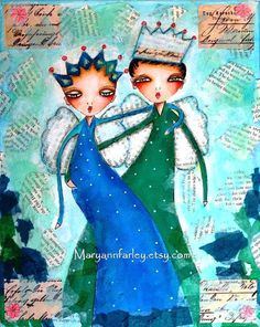 """Storybook #art #print #illustration of boy and girl, """"Royalty,"""" by Mary Ann Farley, $20, https://www.etsy.com/listing/162408866/art-print-storybook-boy-and-girl"""