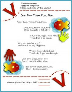 Circle The Letter V Worksheet and 1,2,3,4,5 Nursery Rhyme Song