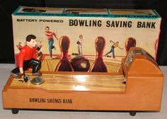 bat/op. Bowling Savings Bank toy...