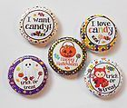Trick or Treat Candy Halloween Flatback Pin Back Buttons 1 for Bows - Halloween Flatback Pins Trick Or Treat, Embellishments, Coasters, Skull, Bows, Scrapbook, Buttons, Candy, Halloween