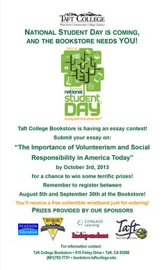 Taft College Bookstore is participating in National Student Day on October 3rd, 2013.