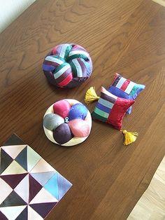 """""""단"""" 으로 만든 색동 바늘방석들 ~* 가끔씩은 화려한 색감들에 끌려 나도 모르게 그만 ^^ * 자투리 """"단"""" 조... Fabric, Pattern, Korean, Tejido, Korean Language, Patterns, Cloths, Fabrics, Swatch"""