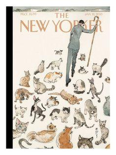 "Copertina - The New Yorker - 21 gennaio 2013 (Barry Blitt - ""Herding Cats"") The New Yorker, New Yorker Covers, Capas New Yorker, I Love Cats, Crazy Cats, Herding Cats, Photo Chat, Poster Prints, Art Prints"