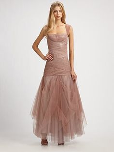 Dulce Tulle Gown (in Sepia), by BCBGMAXAZRIA
