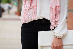 Pale pink Pashmina Charming Charlie Scarf, black American Eagle Outfitters leggings, pointed cheetah flats, white rayon blouse, white clutch | Casual outfit 2015 | Pressing Flowers Blog | Alexandra Lee Photography