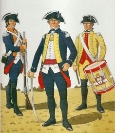 PORTUGUESE INFANTRY 1793-1795.              (Left) Soldier Infantry Regiment No.1 Olivenza. 1790. (Centre) Officer 2nd Infantry Regiment Porto   (Right) Drummer 1st Infantry Regiment Porto. 1806.