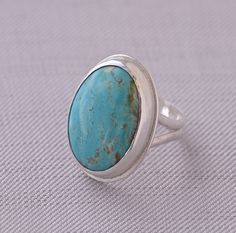 Turquoise Ring Set in Sterling Silver Band,  Eco-Friendly by SusieBrandJewelry on Etsy