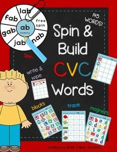 """CVC WORDS - 145 words, Spin & Build, Wipe & Write, Trace It & BONUS Memory Game!There is 1 zip file with 2 pfd files.All kids love magnetic letters and blocks. Just put this together with build it worksheets will make learning so much fun!Perfect for any literacy centers, individual or group work.Each vowel family has a """"Spin It"""" activity to start."""
