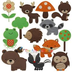 Woodland Animals set of 13-Brown Bear, Deer, Forest, Tree, Fox, Hedgehog, Owl, Raccoon, Skunk, Squirrel, Toadstool, Tree, Frog, Woodland, Fl...