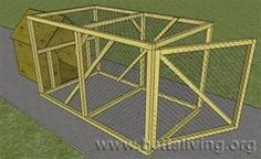 Dog kennel with run.