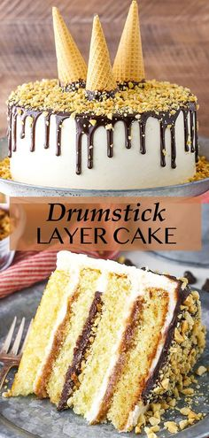 This Drumstick Layer Cake is inspired by one of my favorites – drumstick ice cream cones! With layers of moist vanilla cake, caramel sauce, chocolate ganache, vanilla buttercream, peanuts and waffle cone pieces, it combines the best parts of a drumstick into one tasty cake! Vanilla Buttercream, Vanilla Cake, Layer Cake Recipes, Dessert Recipes, Drumstick Cake, Basic Butter Cookies Recipe, Chocolate Ganache Filling, Best Chocolate Desserts, Smooth Cake