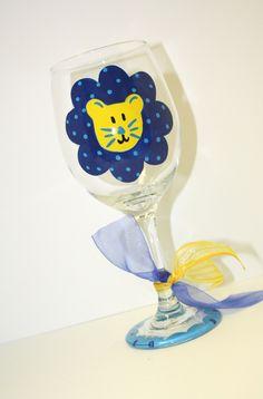 Sorority Alpha Delta Pi ADPi Lion Hand Painted Wine Glass. $15.00, via Etsy.