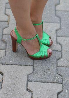 metallic green t-strap heels, Gaia d'Este shoes, Fashion and Cookies