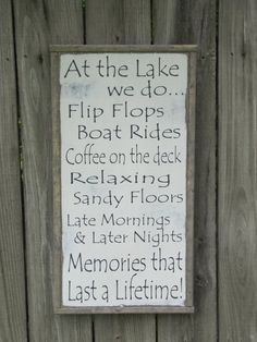 Lake Sign / Lake Wall Decor / Wooden Lake Sign / Wood Sign / Farmhouse Wall Decor / Beach Wall Decor / Cabin Wall Decor At the Lake Wood Sign Lake Rules Wooden Sign by leapoffaithsigns Lake House Signs, Lake Signs, Beach Signs, Cottage Signs, Lake Decor, Beach Wall Decor, Lake Rules, 3d Christmas, Christmas Baking