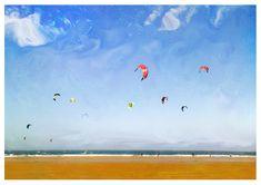 Kite Surfers at Marske North East coast. Art Photography