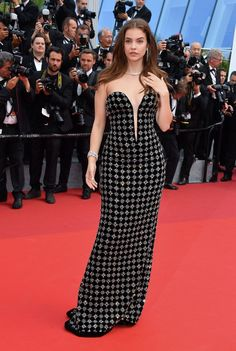 Barbara Palvin wore a studded Armani Privé gown.