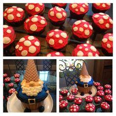 Gnome Cake and Mushroom Cupcakes.