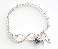 Infinity Sterling Silver Bracelet with Pearl by LaManiaJewelry.com